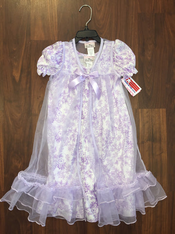 Laura dare lavander 2 piece pinafore nightgown