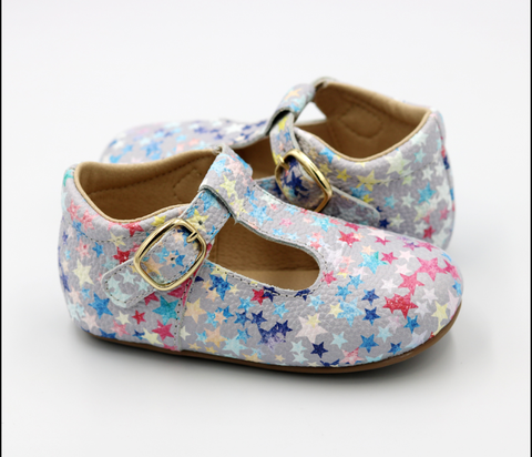 Hannah T-Straps - Distressed stars
