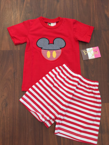 Banana Split boys Mickey Mouse Applique tshirt and shorts
