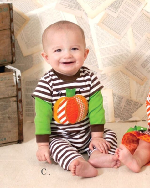 "Peaches N Cream ""pumpkin patch"" Boys romper"
