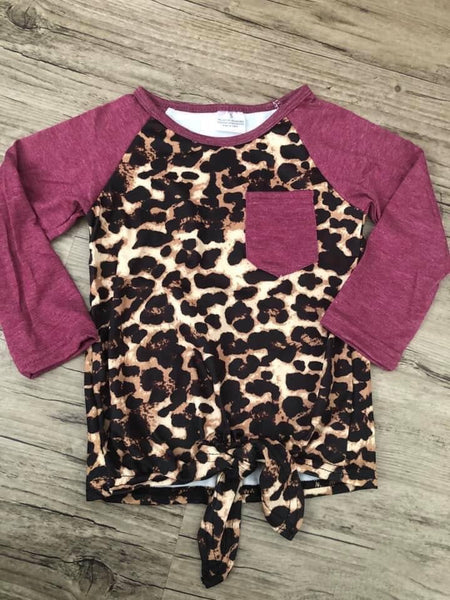 Wine leopard print top