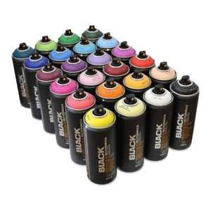 Montana BLACK 400ml Spray Paint Popular Colours Pack of 24 for Graffiti and Street Art