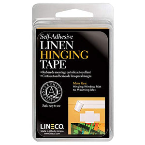 "Self-Adhesive Linen Hinging Tape-White 1.25""X12'"