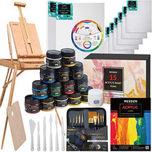 Load image into Gallery viewer, MEEDEN Deluxe Art Painting Sets with Large French Style Artist Easel, 15×100ML(3.38 oz) Acrylic Paints, Acrylic Paintbrushes & Additional Art Set, Nice Art Painting Kits for Adults, Beginners & Teens