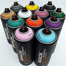 Load image into Gallery viewer, Montana BLACK 400ml Complementary Colors Set of 12 Graffiti Street Art Mural Spray Paint