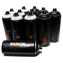 Load image into Gallery viewer, Montana Black 400ml Set of 12 Graffiti Street Art Mural Spray Paint (Black & White)