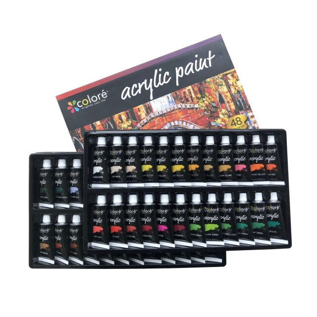 Eco-friendly Acrylic paint -48 Colors, 22ml per tube-