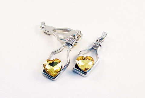 ALD4J - Breloque Bouteille Coeur Cristal / Crystal Heart Bottle Pendant - No Mercy Making