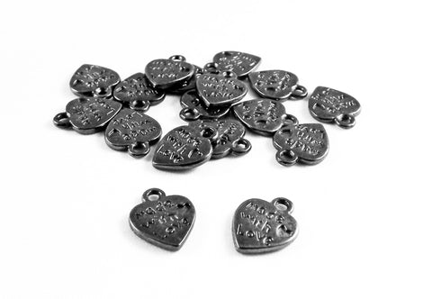 "BCP153 - Breloques Coeur ""Made With Love"" Heart Charms - No Mercy Making"