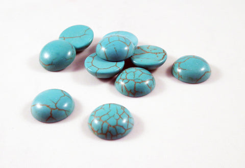 CBC12G - Demie-Perles Cabochons / Turquoise Cameo Cabochons - No Mercy Making