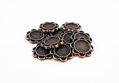 CBC16B - Supports Cabochon Bronze 8mm Tray Pendants - No Mercy Making