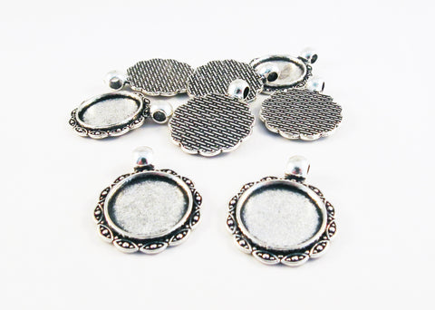 CBC19 - Supports Cabochon Argent Silver 16mm Tray Pendants - No Mercy Making