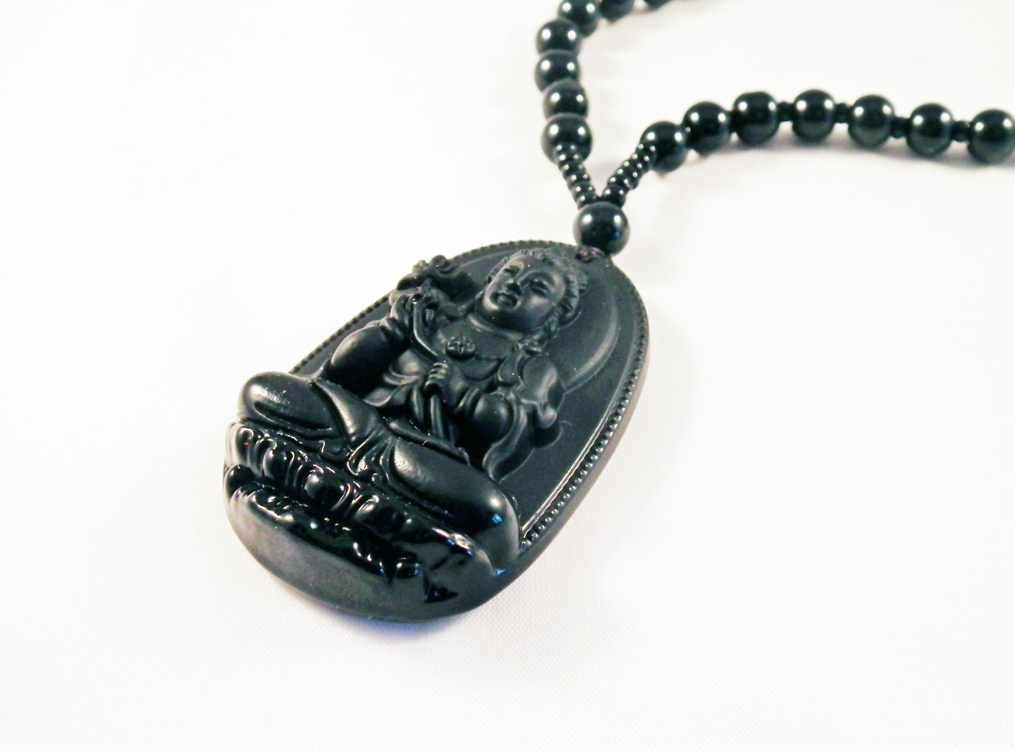 Pendentif Sculpté Main Buddha Obsidian Necklace - No Mercy Making