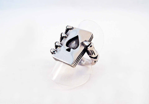 Bague en Acier Squelette et As de Pique / Ace of Spade & Skeleton Steel Ring - No Mercy Making