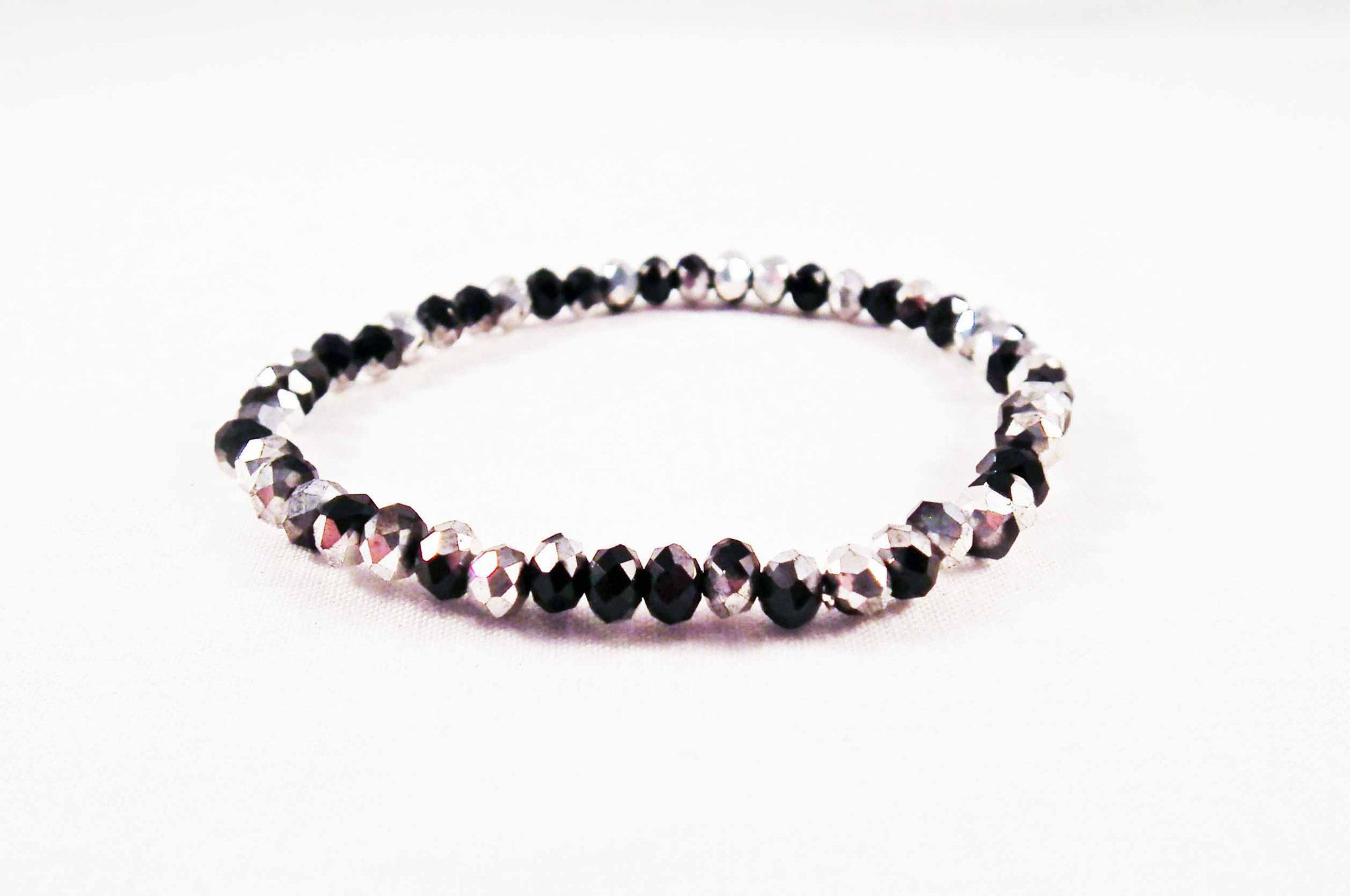 Support Bicolore Bracelet Swarovski Silver   Black - No Mercy Making c8de697ea4