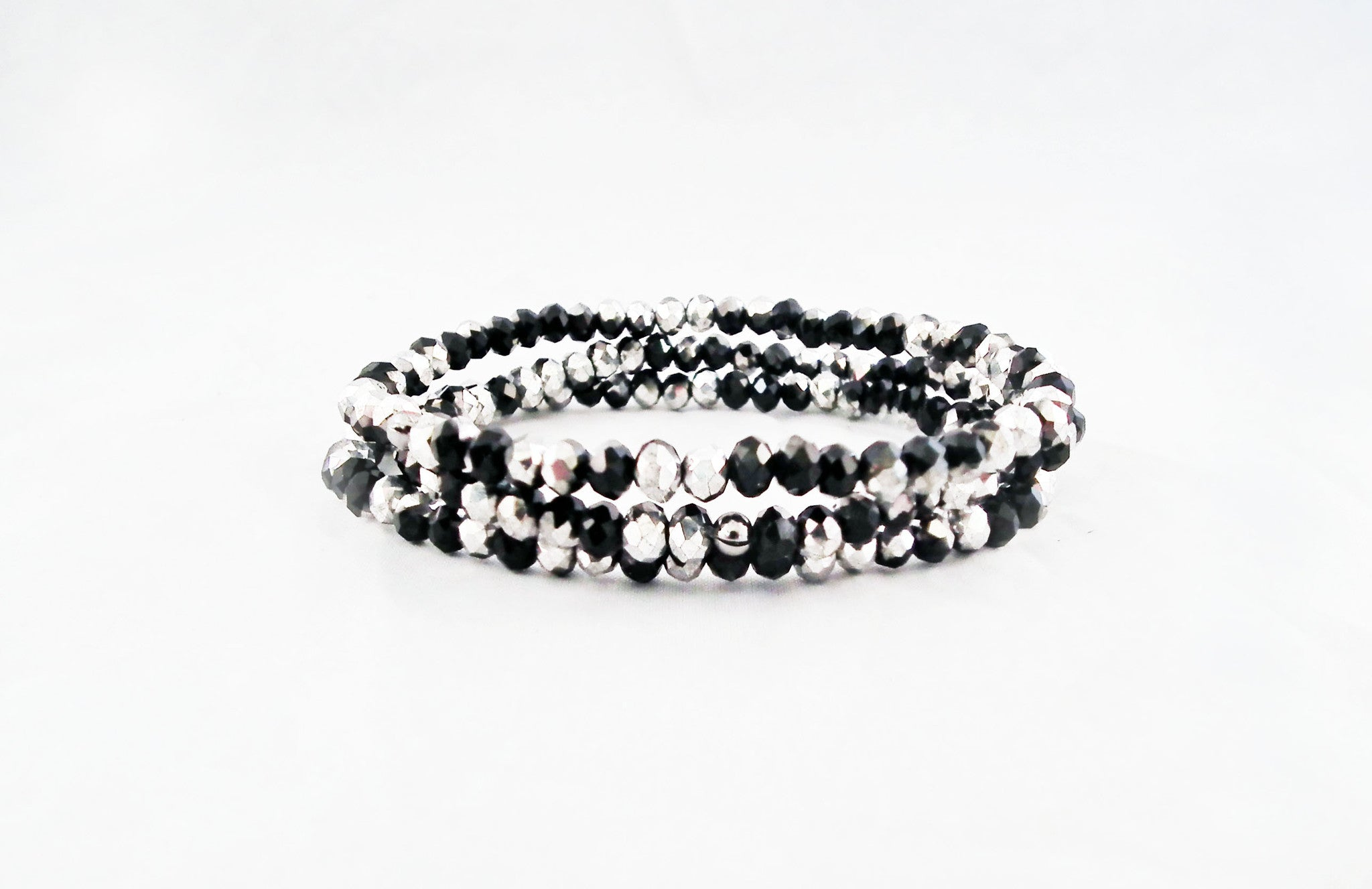 Support Bicolore Bracelet Swarovski Silver & Black - No Mercy Making