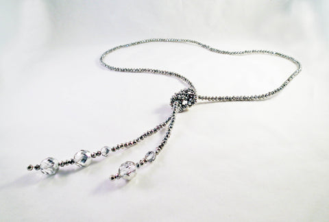 Sautoir à Noeud en Cristal Argenté / Silver Crystal Knot Necklace - No Mercy Making