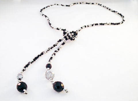 Swarovski Black and Silver Crystal Knot Necklace