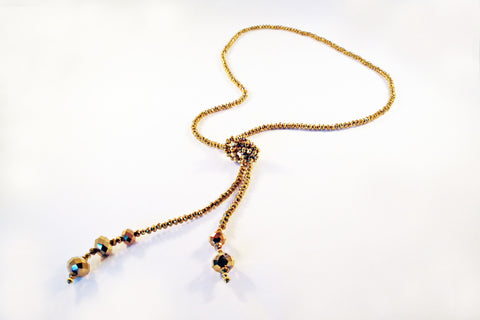 Sautoir à Noeud en Cristal Doré / Gold Crystal Knot Necklace - No Mercy Making