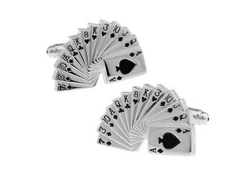 REF32 - Boutons de Manchette Casino Argent ou Doré / Silver or Gold Poker Cufflinks - No Mercy Making
