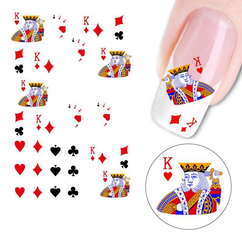 REF70B - Décalques pour Ongles Poker CASINO Nail Art Stickers - No Mercy Making