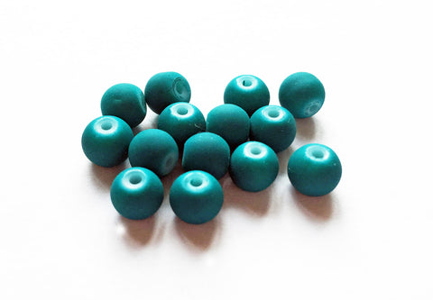 PD23 - Perles Effet Mat Turquoise Blue Rubber Neon Beads
