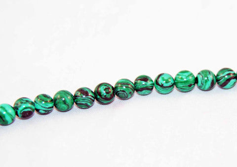 PFM06M - 5 perles 6mm Malachite / 5 Malachite Beads 6mm - No Mercy Making