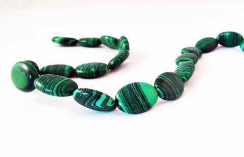 PFM49 - Perles Ovales Malachite / Oval Malachite Beads - No Mercy Making