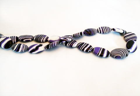 PFM65 - Perles Ovales Rayures / Stripes Oval Beads - No Mercy Making
