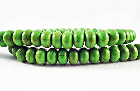 PHW23V - Perles Vert Howlite Turquoise 5x8 Green Beads - No Mercy Making
