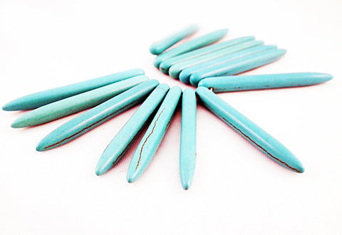 PHW02T - Perle Cône Howlite Turquoise Spike Bead - No Mercy Making