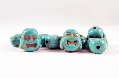 ALH1T - Perle Bleu Buddha Howlite Turquoise Blue Bead - No Mercy Making
