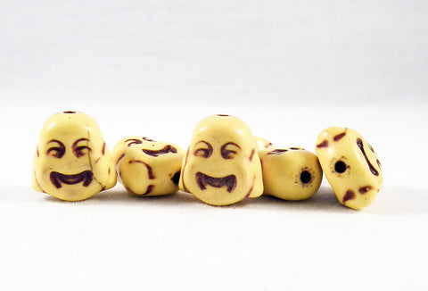 ALH1J - Perle Jaune Buddha Howlite Turquoise Yellow Bead - No Mercy Making