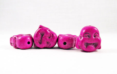 ALH1M - Perle Rose Mauve Buddha Howlite Turquoise Mauve Pink Bead - No Mercy Making