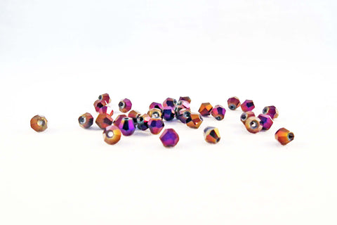 PSM05M - Perles en Verre Toupies Mauve / Plum Bicone Glass Beads - No Mercy Making