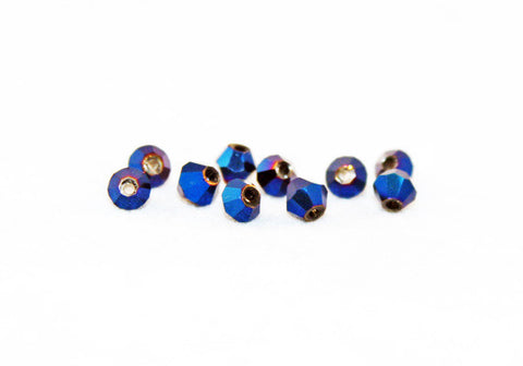 PSM01B - Perles en Verre Toupies Bleu / Blue Bicone Glass Beads - No Mercy Making