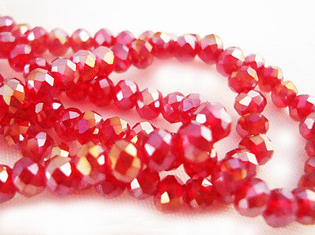 PSM08 - Perles en Verre Rouge 3X4mm Red Glass Beads - No Mercy Making