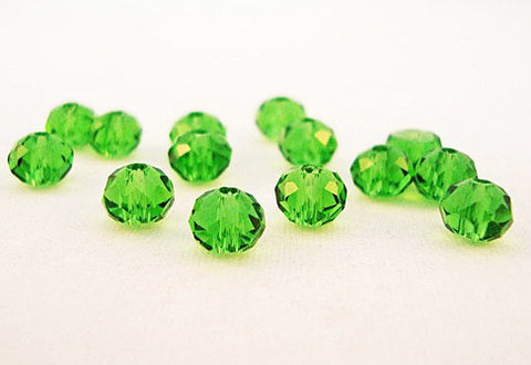 PSM14 - Perles en Verre Vert 4X6mm Green Glass Beads - No Mercy Making