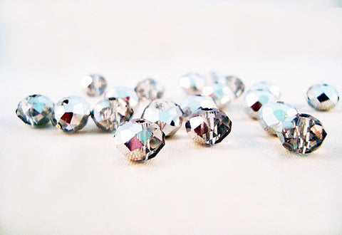 PSM15 - Perles en Verre Argent 4X6mm Silver Glass Beads - No Mercy Making