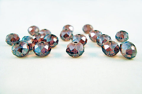 PSM19 - Perles en Verre Prune 8X6mm Plum Glass Beads - No Mercy Making