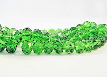 PSM21 - Perles en Verre Vert 8X6mm Green Glass Beads - No Mercy Making