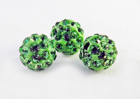 PSM28 - Perles Vert en Cristal Shamballa Crystal Beads Green - No Mercy Making