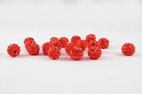 PSM41 - Perles Rouge en Cristal Shamballa Crystal Beads Red - No Mercy Making