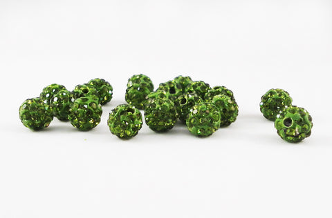 PSM43 - Perles Vert en Cristal Shamballa Crystal Beads Green - No Mercy Making
