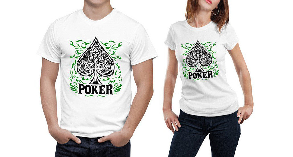 REF46 - T-Shirt Blanc ou Gris Ace de Pique Poker / White or Grey T-Shirt Poker Ace of Spade Design - No Mercy Making