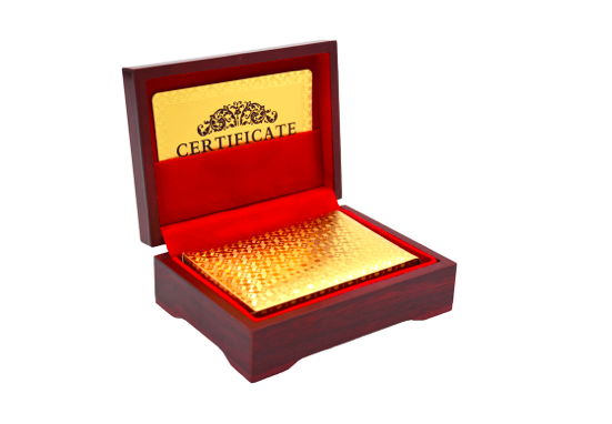 REF29K - Coffret en Acajou et Cartes à Jouer en Or / Gold Playing Cards Wood Box - No Mercy Making