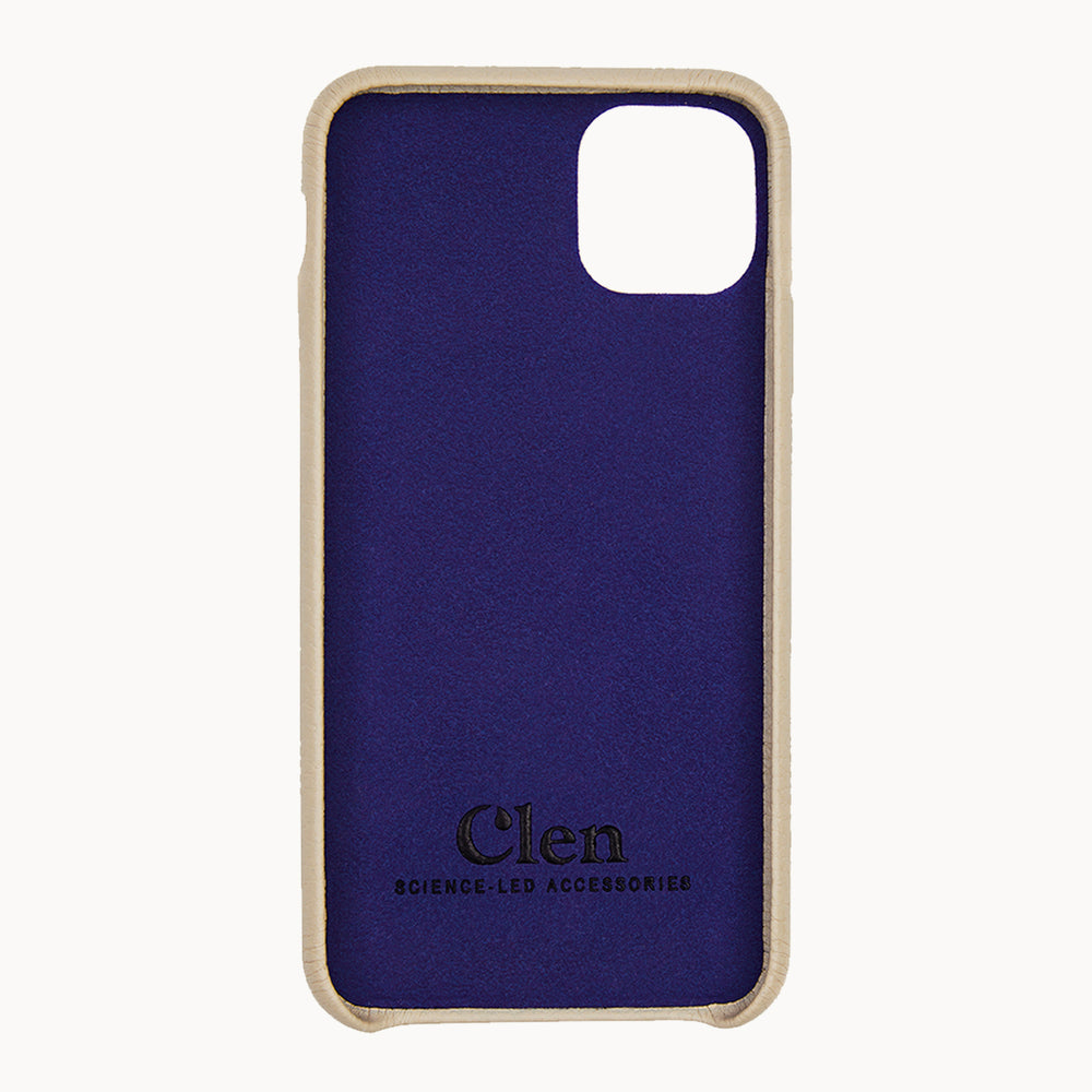 Load image into Gallery viewer, Clen Beige Cream iPhone 11 Leather Phone Case