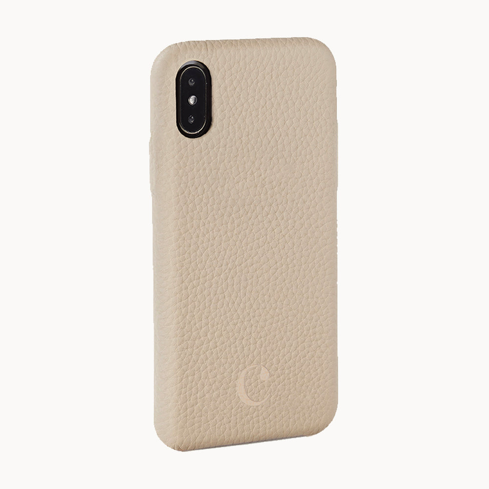Clen Beige Cream iPhone X Leather Phone Case