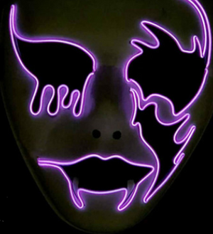 Ghost Halloween / Party Neon LED Mask