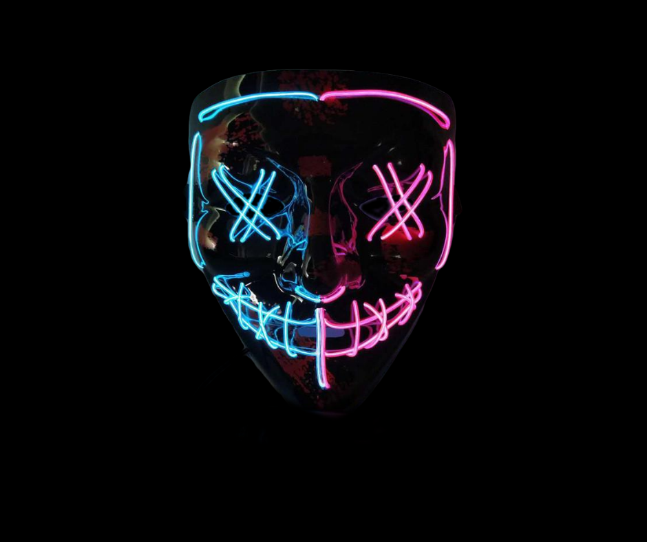 Black V Halloween Horror Neon LED Mask (Two Tone)